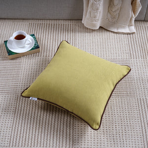 Woven Cotton Corded Stripe Cushion Cover - Olive Green