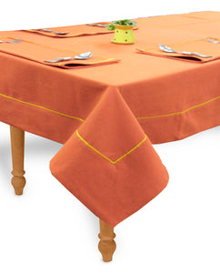 "AURAVE Woven Cotton 200 TC 60""x90"" Plain Table Cover (Dark Orange)"