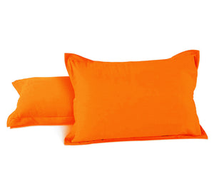 AURAVE Excel Cotton 2 Pieces Plain Pillow Cover Set - 18 X 27 inches, Orange