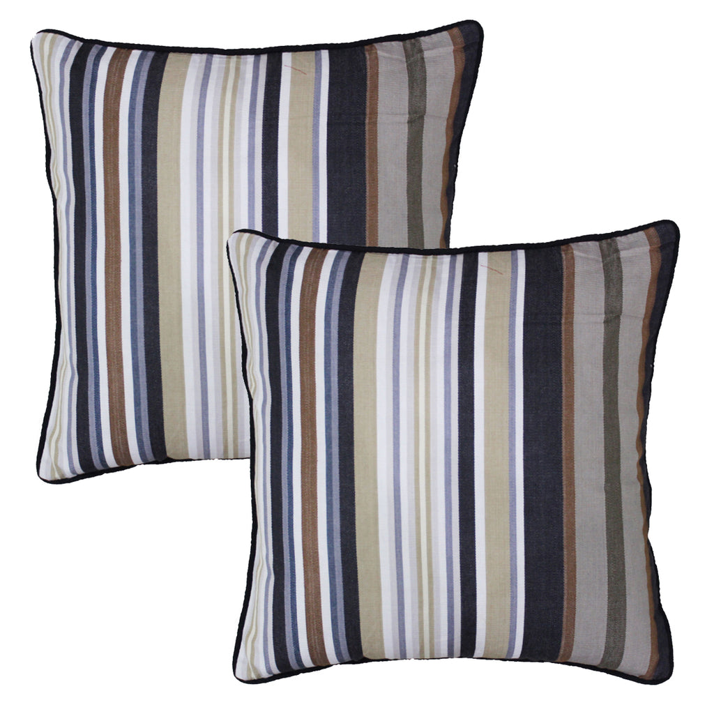 Woven Stripe Cotton Cushion Cover - Black