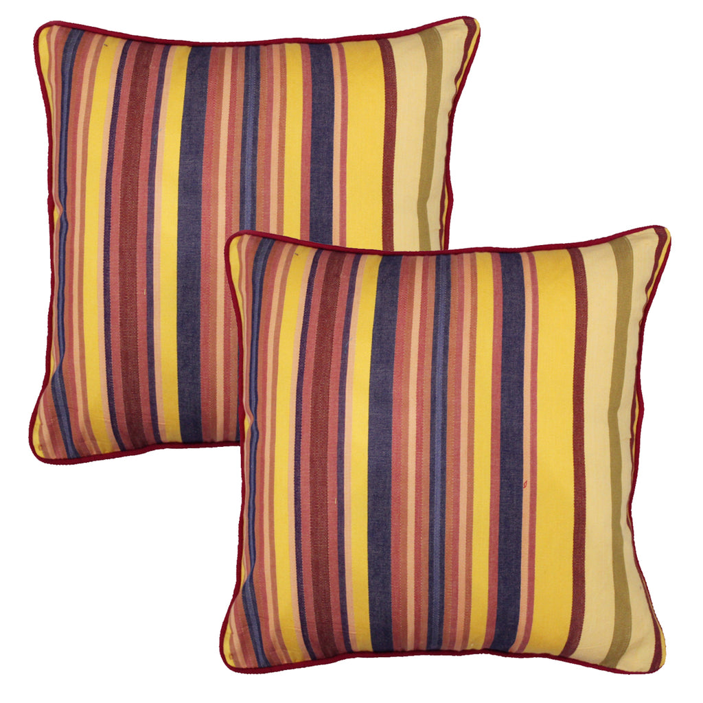 Woven Stripe Cotton Cushion Cover - Mustard