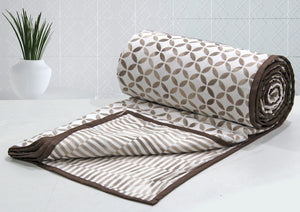 AURAVE Riva Geometrical Cotton 1 Pc AC Dohar, Coffee Brown