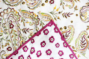 AURAVE Riva Paisley pattern Cotton 1 Pc AC Dohar, Pink