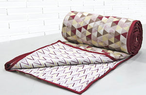 AURAVE Riva Geometrical Cotton 1 Pc AC Dohar, Maroon