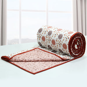 Riva Floral Cotton 1 Pc AC Dohar, Rust