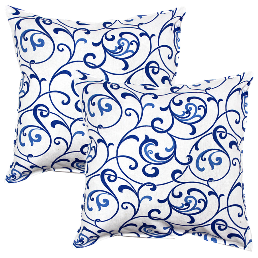 AURAVE Printed Floral Cotton Cushion Cover - Blue