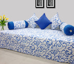 AURAVE Prism Floral 180 TC 6 Piece Cotton Diwan Set - Blue