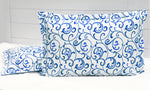 Printed Floral Cotton 144 TC Fitted Bedsheet - BLUE