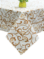 AURAVE Cotton 144 TC Floral Table Cover (Mustard)