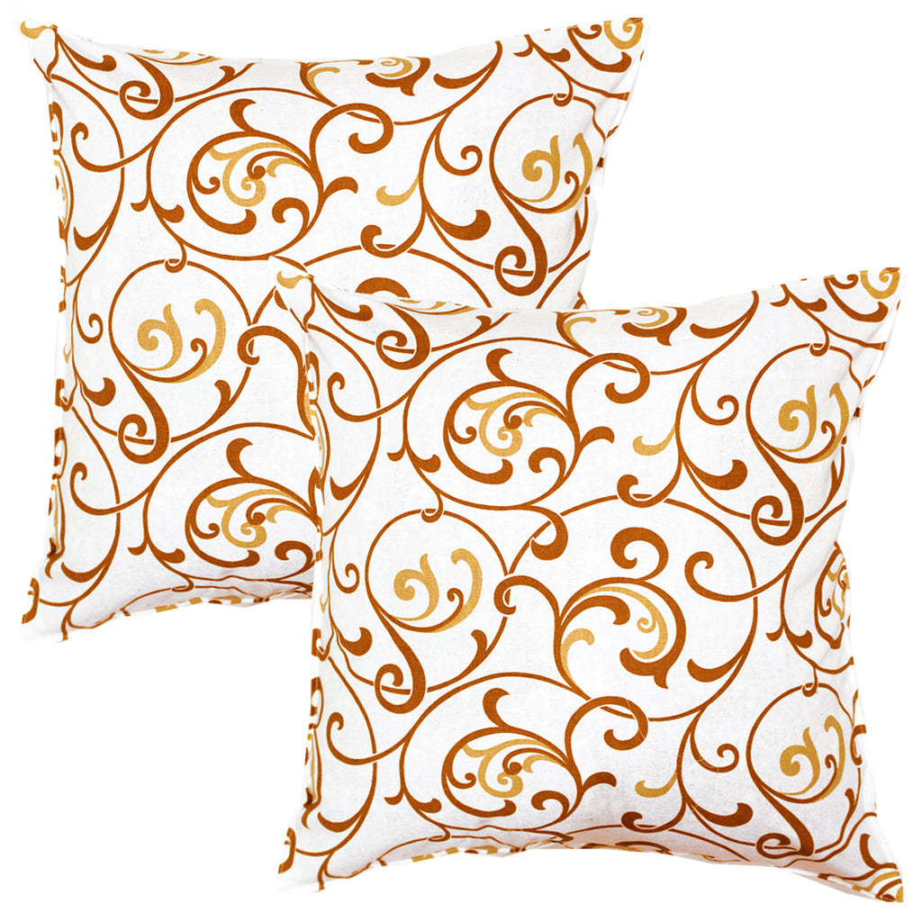 AURAVE Printed Floral Cotton Cushion Cover - Mustard