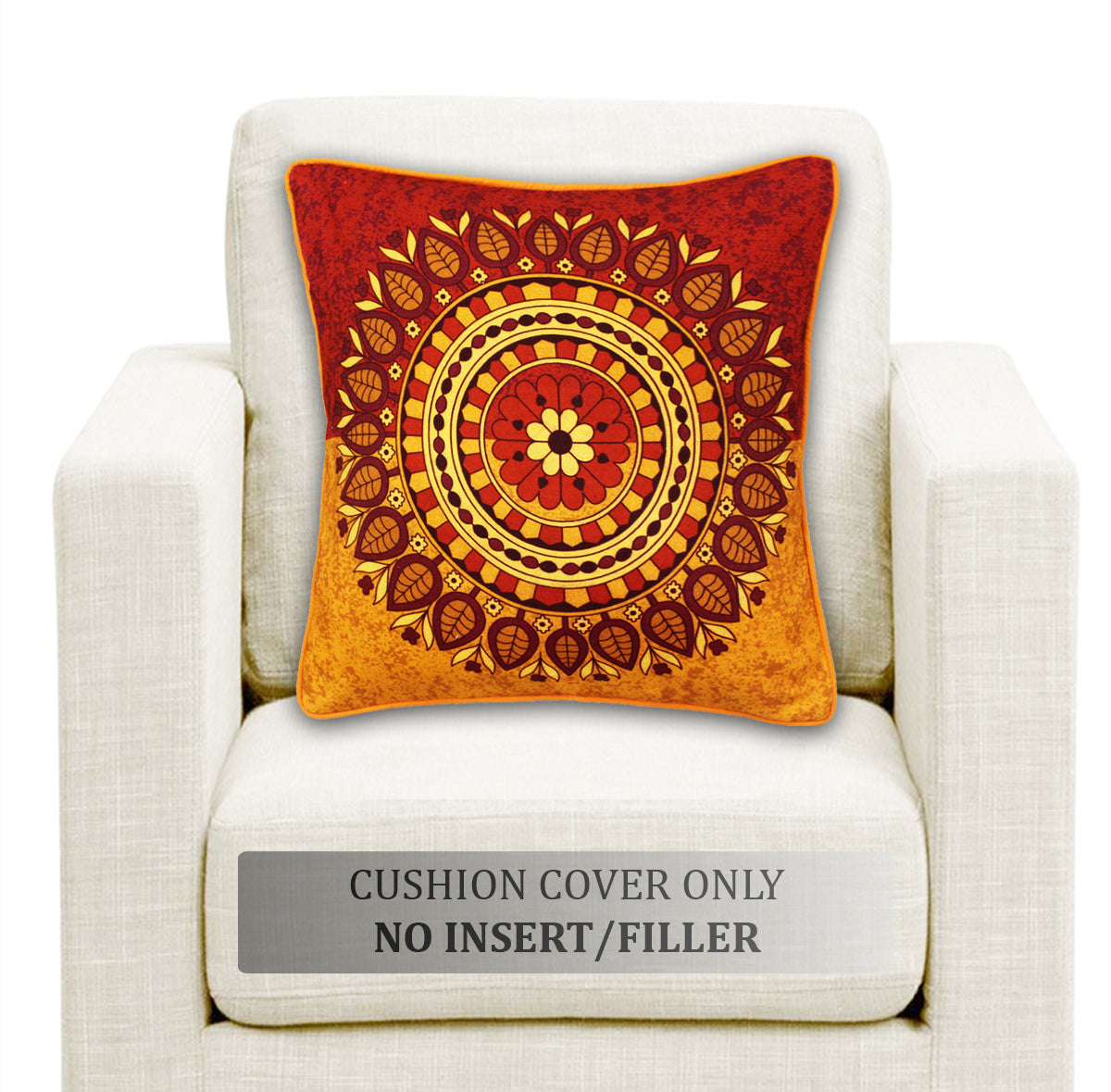 AURAVE DIGITAL Printed Cotton Cushion Covers - Red & Orange