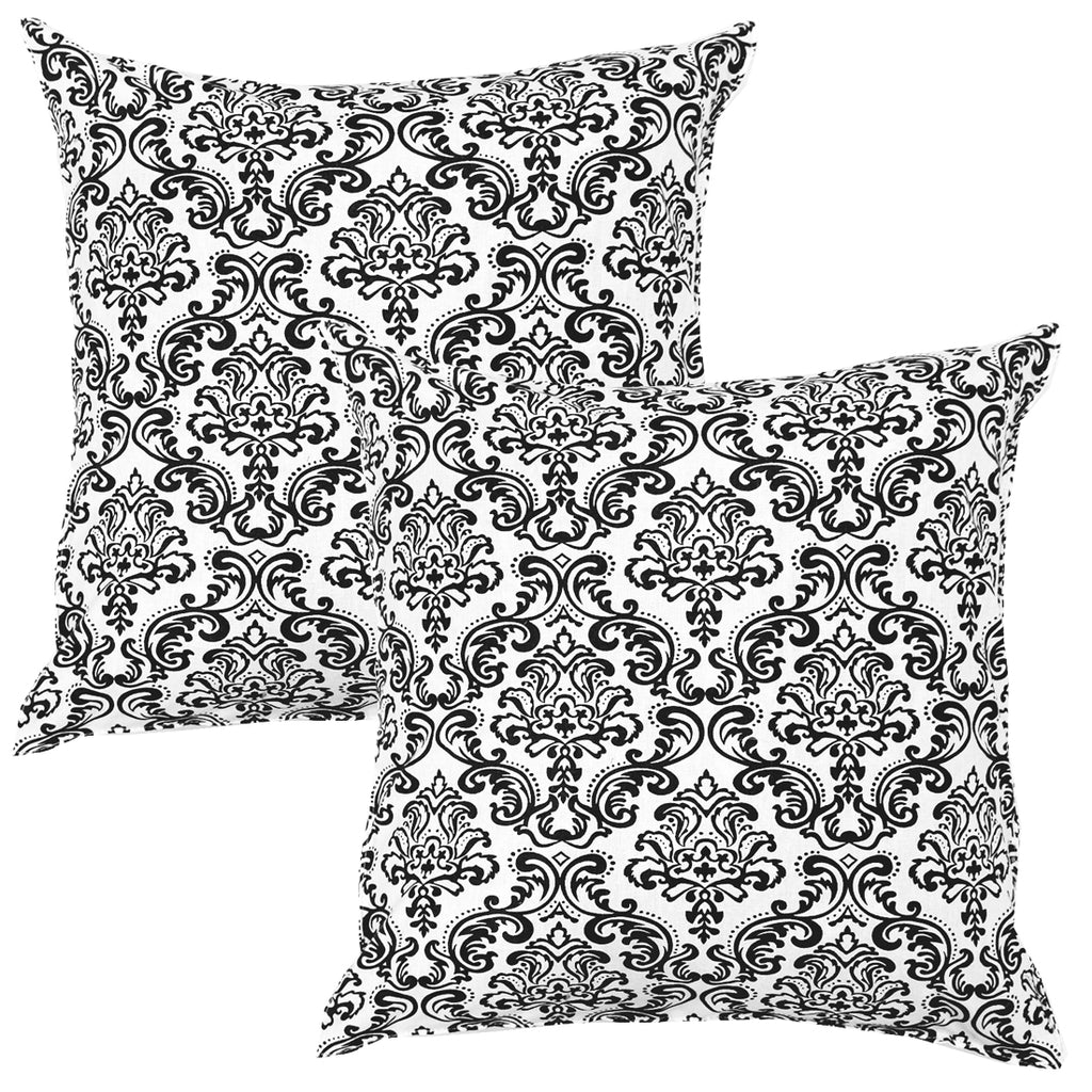 AURAVE Printed Damask Cotton Cushion Cover - Black