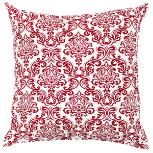 AURAVE Printed Damask Cotton Cushion Cover - Maroon