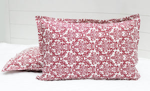 Printed Damask Cotton 144 TC Fitted Bedsheet - MAROON