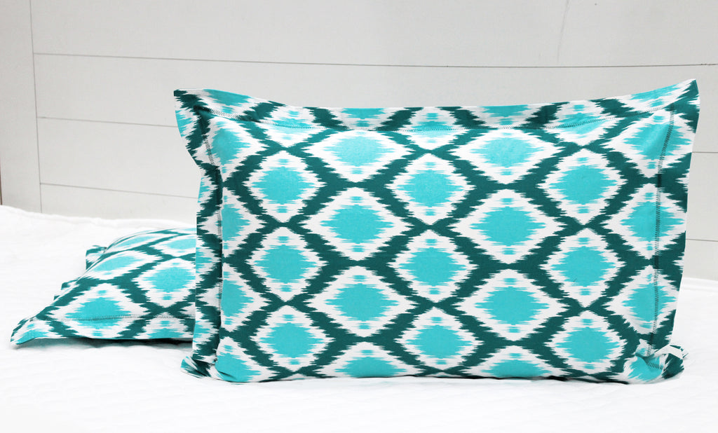 AURAVE Prism Cotton 2 Pieces Printed Pillow Cover Set - 18 X 27 inches, Aqua