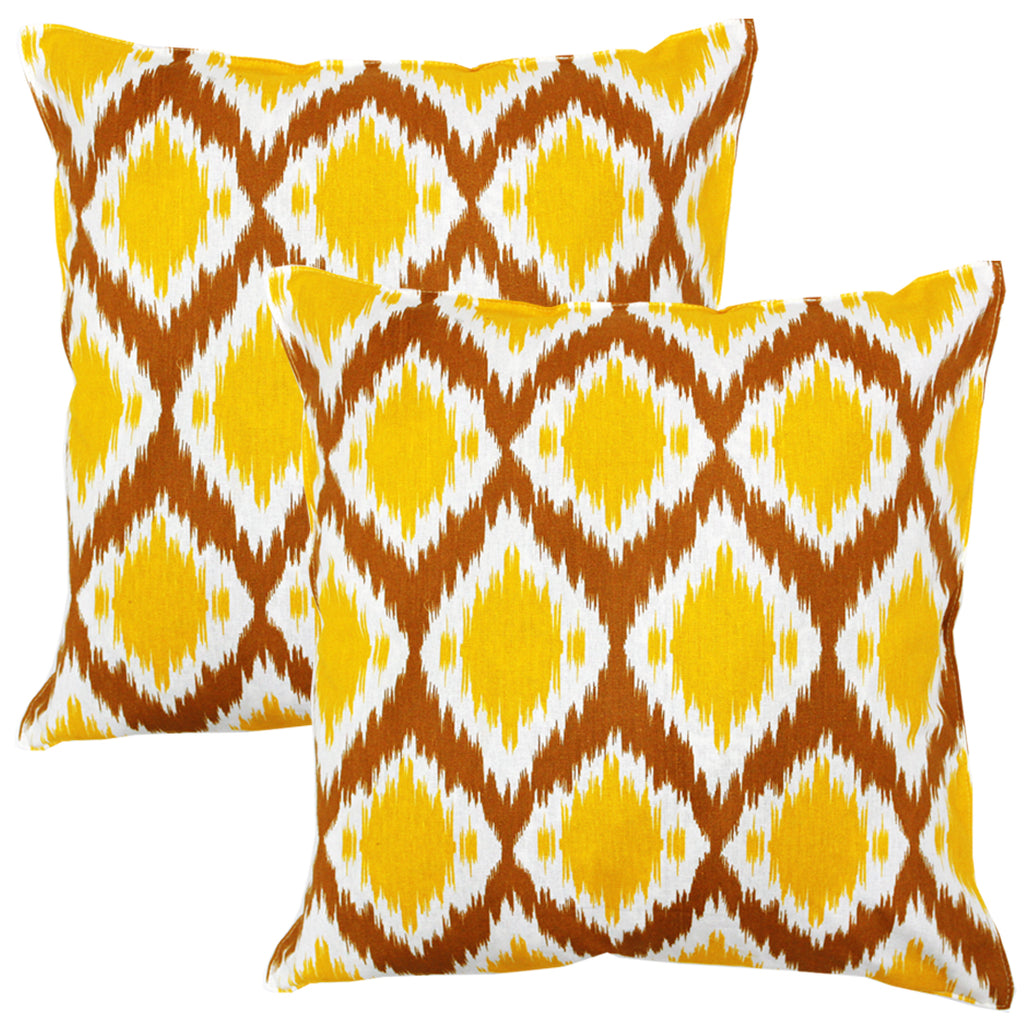 AURAVE Printed Ikat Cotton Cushion Cover - Mustard