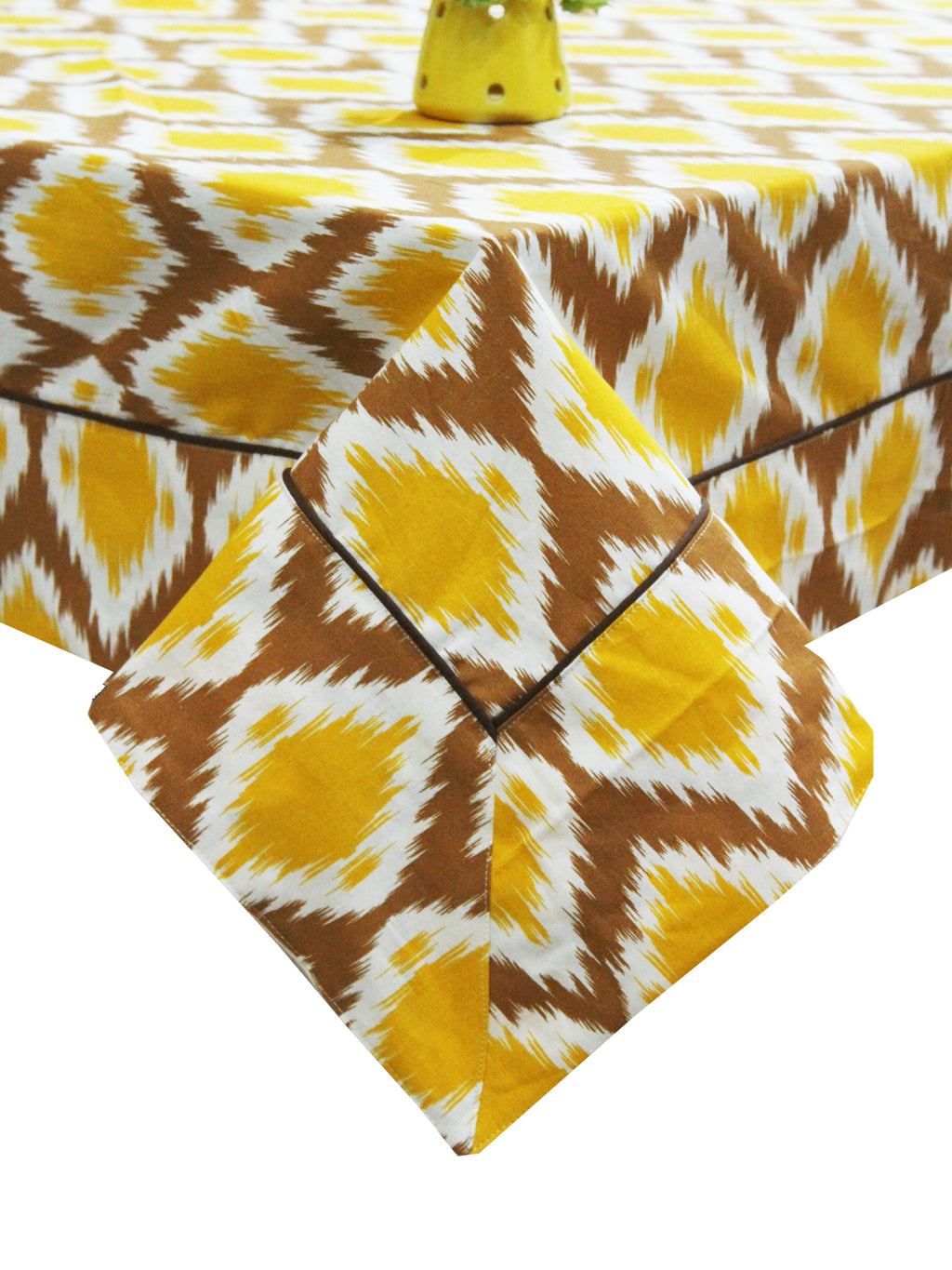 "AURAVE Cotton 60""x90"" Ikat Table Cover (Mustard)"