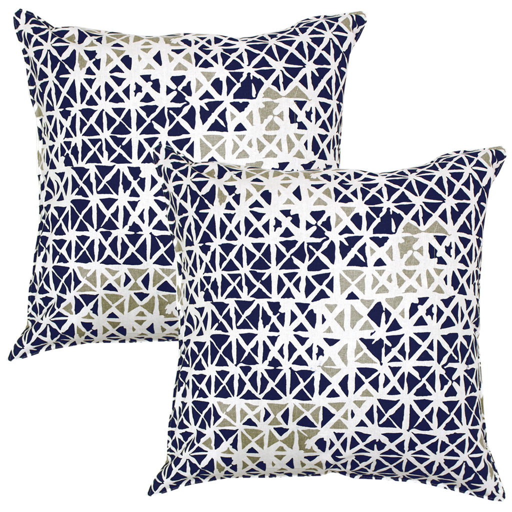 AURAVE Printed Geometrical Cotton Cushion Cover - Blue & Grey