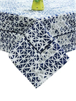 "AURAVE Cotton 60""x90"" Geometrical Table Cover (Navy Blue)"