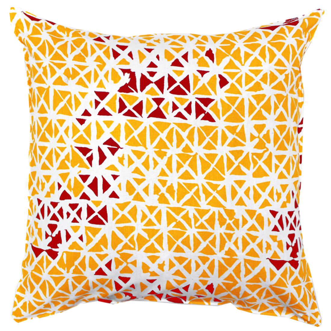 AURAVE Printed Geometrical Cotton Cushion Cover - Maroon & Mustard