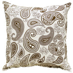 AURAVE Printed Paisley Cotton Cushion Cover - Brown