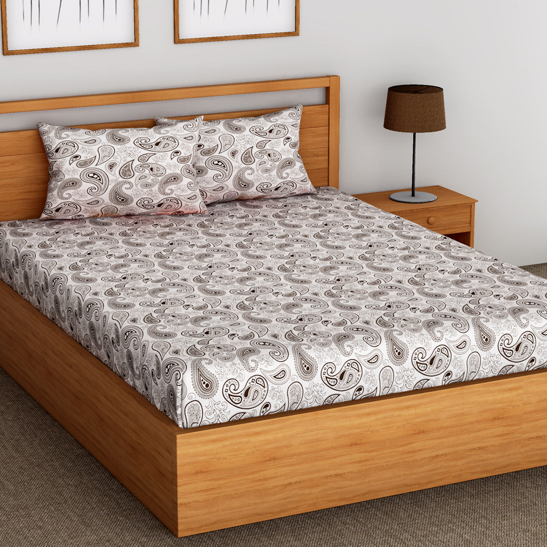 Printed Paisely Cotton 144 TC Fitted Bedsheet - BROWN