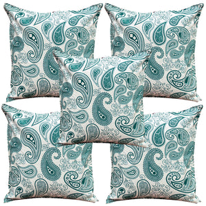 AURAVE Printed Paisley Cotton Cushion Cover - Peacock
