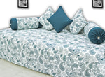 AURAVE Prism Paisley 180 TC 6 Piece Cotton Diwan Set - Peacock Blue