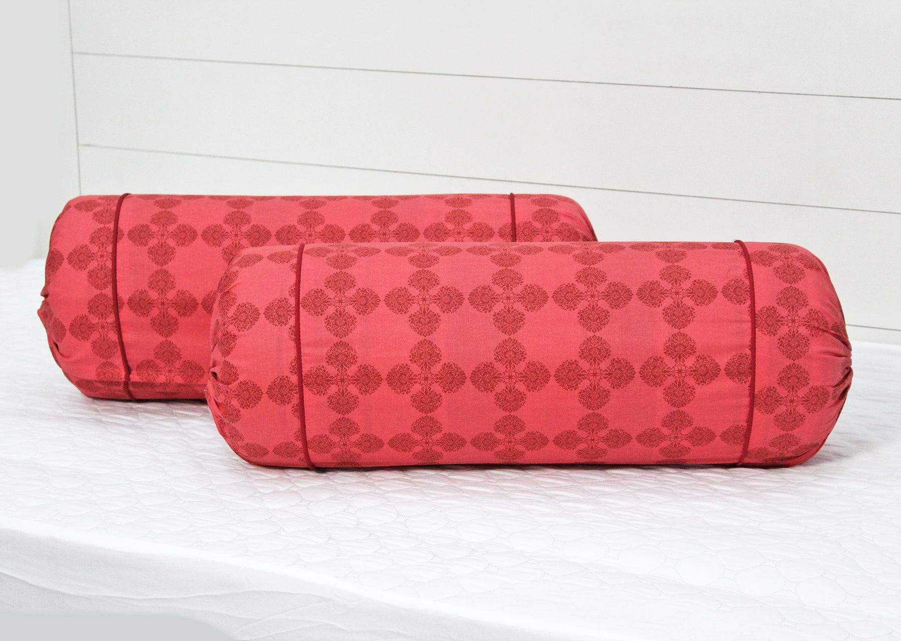 AURAVE Floral Print 2 Pieces Cotton Bolster Covers - Peach