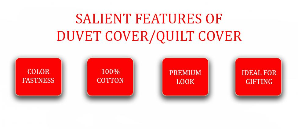 AURAVE Reversible Style Plain Red & Green 210 TC Mercerised Cotton Duvet Cover/Quilt Cover