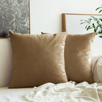 AURAVE Suede Luxurious Microfibre Cushion Cover 2 pcs for Sofa/Couch - Camel Brown