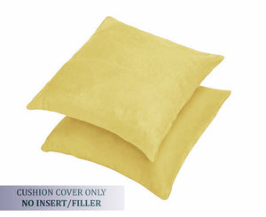 AURAVE Suede Luxurious Microfibre Cushion Cover 2 pcs for Sofa/Couch - Lemon Yellow
