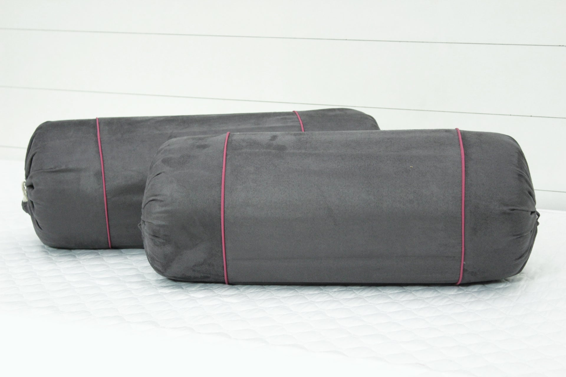 AURAVE Imported Suede Polyester Velvety 2 Pcs Bolster Covers - Grey