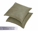 AURAVE Suede Luxurious Microfibre Cushion Cover 2 pcs for Sofa/Couch - Khaki