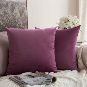 AURAVE Suede Luxurious Microfibre Cushion Cover 2 pcs for Sofa/Couch - Purple