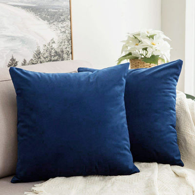 AURAVE Suede Luxurious Microfibre Cushion Cover 2 pcs for Sofa/Couch - Marine Blue