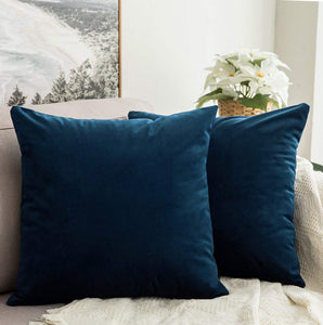 AURAVE Suede Luxurious Microfibre Cushion Cover 2 pcs for Sofa/Couch - Navy Blue