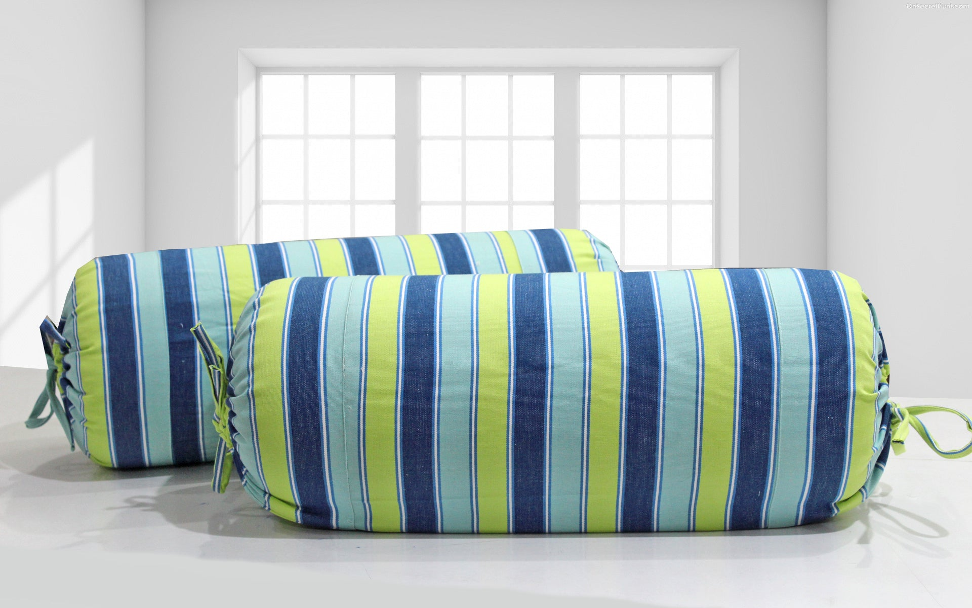 AURAVE Blue & Green Stripes Woven Cotton Bolster Cover