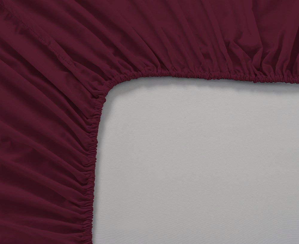 Plain Cotton Satin 400 TC Fitted Bedsheet - Double/King - MAROON