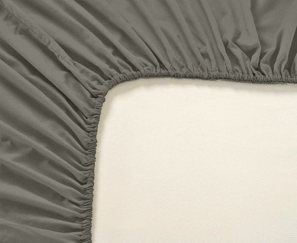 Plain Cotton Satin 400 TC Fitted Bedsheet - Double/King - TAUPE