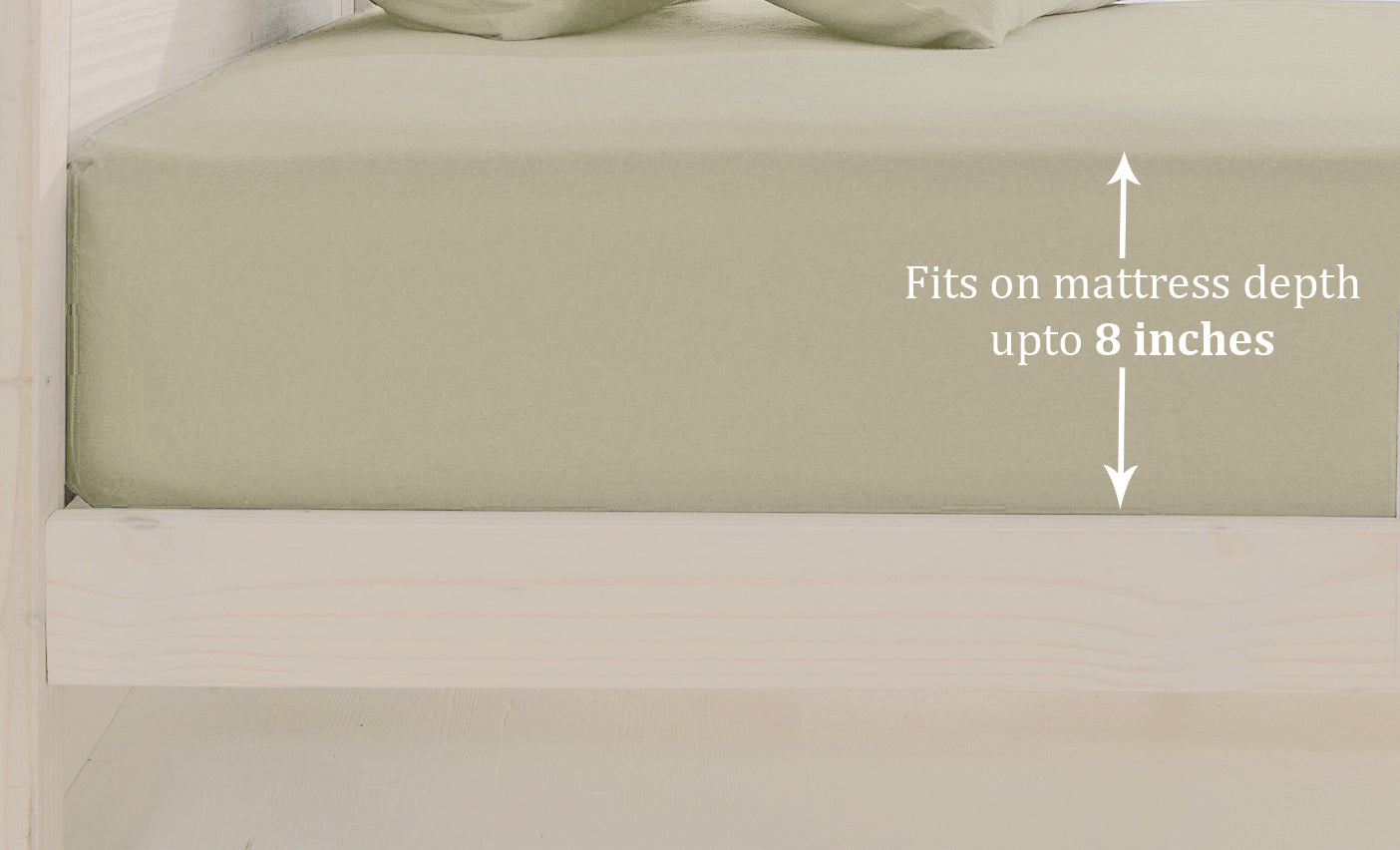 Plain Cotton Satin 400 TC Fitted Bedsheet - Double/King - KHAKI