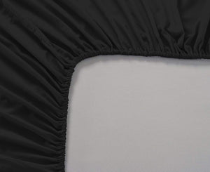 Plain Cotton Satin 400 TC Fitted Bedsheet - Double/King - BLACK