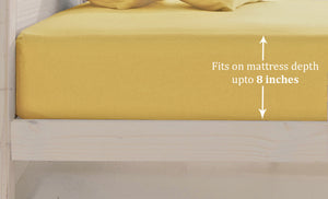 Plain Cotton Satin 400 TC Fitted Bedsheet - Double/King - GOLD