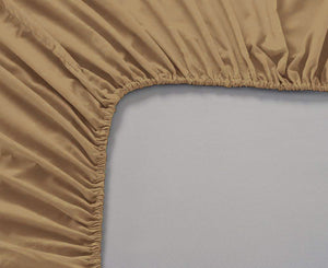 Plain Cotton Satin 400 TC Fitted Bedsheet - Double/King - CAMEL BROWN