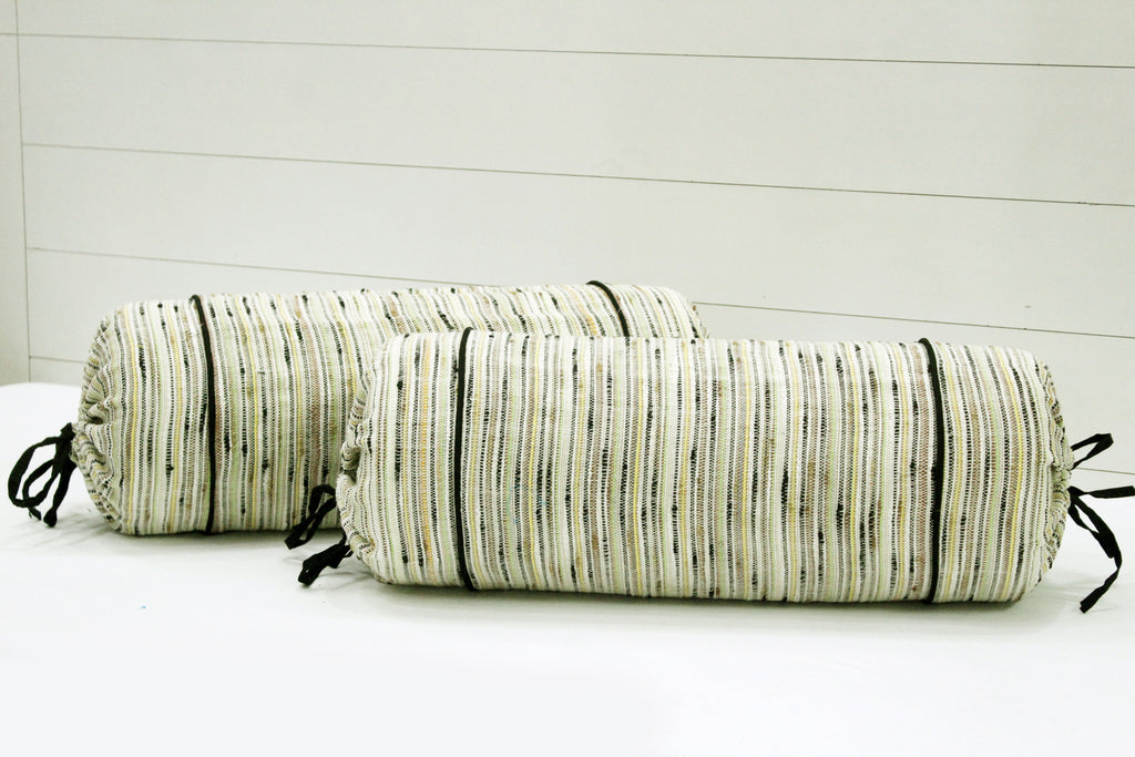 "AURAVE Woven Cotton 144 TC Bolster Cover (15""x30""_Green)"
