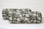AURAVE Traditional Hand Block Printed Cloud 2 Pieces Cotton Bolster Covers - Black