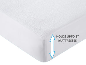 Waterproof Cotton Terry Mattress Protector - White