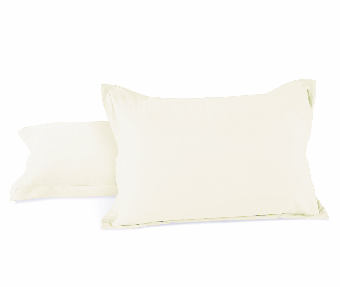 AURAVE Excel Cotton 2 Pieces Plain Pillow Cover Set - 18 X 27 inches, White