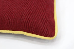 Woven Cotton Corded Stripe Cushion Cover - Burgundy