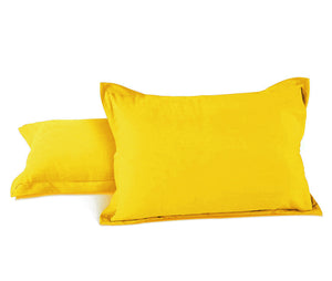 AURAVE Excel Cotton 2 Pieces Plain Pillow Cover Set - 18 X 27 inches, Yellow